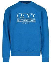 Sporty & Rich Logo Print Crewneck Sweatshirt - Blue