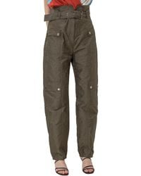Pinko Quadratino Belted Cargo Pants - Green