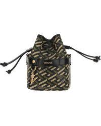 Versace La Greca Signature Mini Bucket Bag - Black