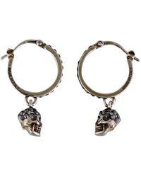 Alexander McQueen Skull Hoop Earrings - Metallic