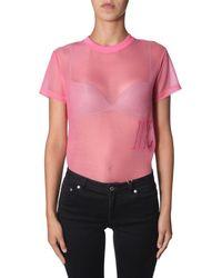 Helmut Lang - Transparent Effect Logo Embroidered T-shirt - Lyst