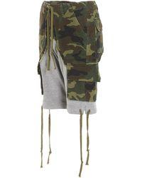 Greg Lauren Panelled Drawstring Shorts - Green