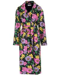 Balenciaga Belted Floral Print Trench Coat - Multicolour