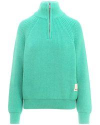 Sunnei Half Zip Knit Pullover - Green