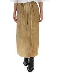 Uma Wang Distressed-effect Midi Skirt - Natural