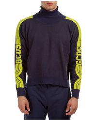 Gcds Men's Polo Neck Turtleneck Jumper Jumper - Blue