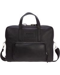 Emporio Armani Briefcase Attaché Case Laptop Pc Bag Leather - Black