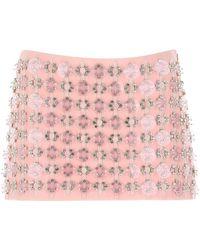 Miu Miu Bead Embellished Mini Skirt - Pink