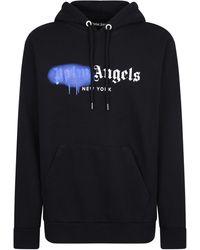 Palm Angels Sprayed Logo Print Drawstring Hoodie - Black