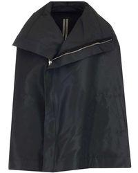 Rick Owens Zipped Cape Jacket - Black