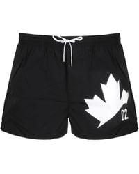 DSquared² Maple Leaf Print Swim Trunks - Black
