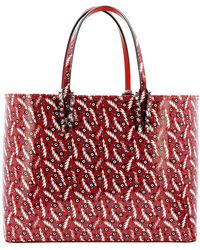 Christian Louboutin Cabata Shopping Bag Leather Loubi Red