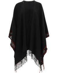 Alexander McQueen Cape With Jacquard Logo Os Wool,cashmere - Black
