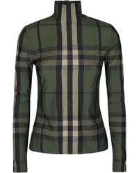 Burberry Checked Mock-neck Jersey Top - Green