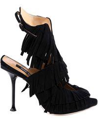 Sergio Rossi Fringed Sandals - Black