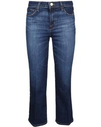 J Brand Selena Flared Cropped Jeans - Blue