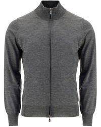 Brunello Cucinelli Zip-up Ribbed Sweater - Gray