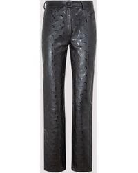 Marine Serre Crescent Moon Print Leather Trousers - Black