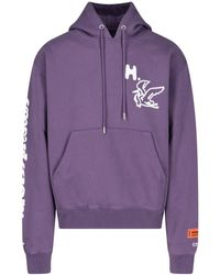 Heron Preston Logo Patch Drawstring Hoodie - Purple