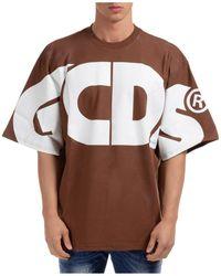 Gcds Men's Short Sleeve T-shirt Crew Neckline Jumper Macro Logo - Brown