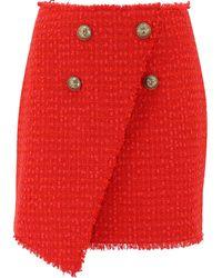 Balmain Wrap Front Tweed Skirt - Red