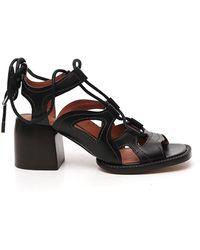 Chloé Gaile Lace-up Sandals - Black