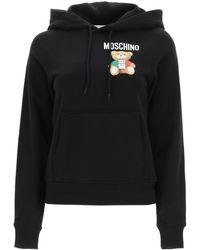 Moschino Italian Teddy Bear Hooded Sweatshirt - Black