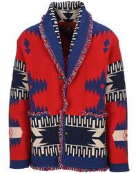 Alanui Geometric Patterned Cardigan - Red
