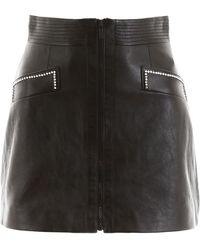 Miu Miu Leather Mini Skirt With Crystals - Black