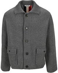 Thom Browne Rwb Striped Buttoned Jacket - Grey