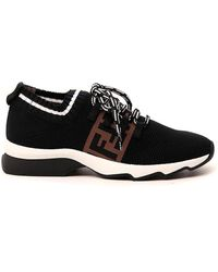 Fendi Ff Low Sock Sneakers - Black