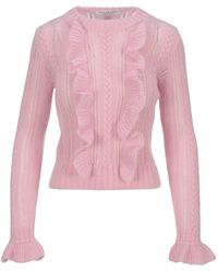 Philosophy Di Lorenzo Serafini Ruffled Cable Knit Sweater - Pink