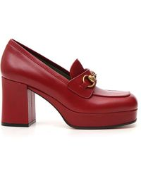 Gucci Houdan Leather Platform Loafers - Red