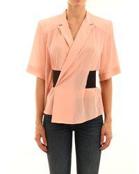 Balenciaga Wrap Front Blouse - Pink