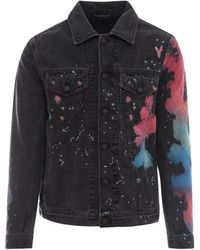 DIESEL Splash Print Denim Jacket - Black