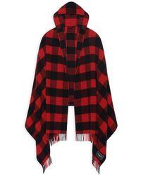 Balenciaga Checked Hooded Blanket - Red