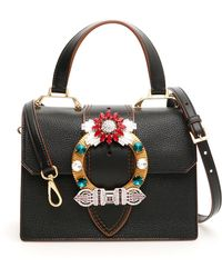 da02cb40fc Miu Miu - Madras Crystal Embellished Leather Top Handle Bag - Lyst