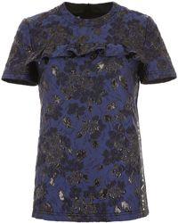 Prada Floral Print Side Logo T-shirt - Blue