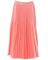 Givenchy Logo Trim Pleated Skirt - Pink