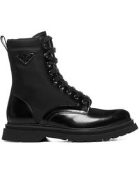 Prada Logo Plaque Lace-up Boots - Black