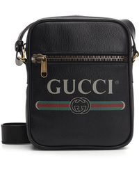Gucci - Logo Print Grained Leather Camera Bag - Lyst