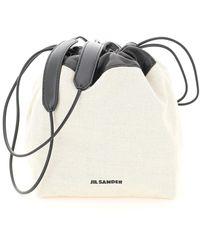 Jil Sander Drawstring Small Crossbody Bag - White