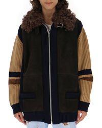 Miu Miu Shearling Collar Zipped Jacket - Black