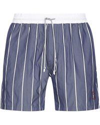 Brunello Cucinelli Striped Drawstring Swim Shorts - Blue