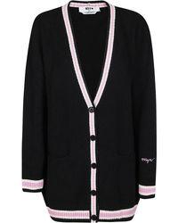 MSGM Striped V-neck Cardigan - Black