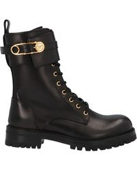 Versace Safety Pin Combat Boots - Black
