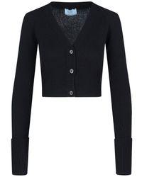 Prada Ribbed Cropped Cardigan - Black