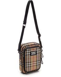 Burberry - Messenger Bag With Check Motif - Lyst