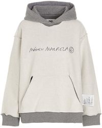 MM6 by Maison Martin Margiela Logo Embroidered Hoodie - Grey