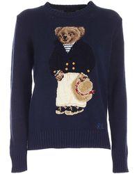 Polo Ralph Lauren Bear Inlay Sweater - Blue